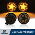 Pair Smoke Lens Amber LED Indicator Turn Signal Light For Jeep Wrangler JK 07-17