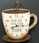 "Wooden Wall Coffee Clock ""Take Life One Cup at a Time"" Kitchen decor IWGAC"