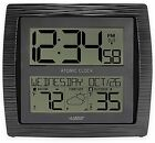 La Crosse Technology Curved Atomic Wall Clock with In/Outdoor Temperature Black