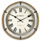 FirsTime Whitewashed Rope Wall Clock Round Reclaimed Coastal Decor Home Indoor