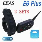 2X EJEAS E6 Plus VOX Bluetooth Intercom Motorcycle Helmet Waterproof 1200M GW