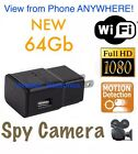 64GB 1080P WIFI USB SPY Hidden Wall Phone Charger Camera AC Adapter Plug DVR