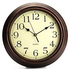 "Bekith 12"" Round Classic Clock Retro Non Ticking Quartz Decorative Wall Clock"
