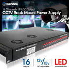 200W Rack Mount 1.5U CCTV Power Supply Regulated 16 Port 16 Amp 12V DC Output