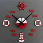 3D Sea Fish three-dimensional metallic DIY Roman numeral wall clock Blue/Red