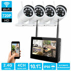 """10"""" LCD Wireless DVR Home Security System IR Night Vision Monitor+ 4 CCTV Camera"""