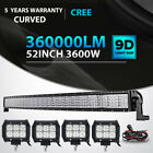 Quad Row 52inch 3600W Curved LED Light Bar+4x 18W Pods Offroad Jeep Truck ATV 50