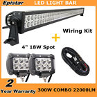 """52"""" 300W Combo LED Light Bar with Wiring Kit + 4"""" Cree Pod Lights Offroad Jeep"""