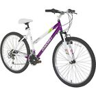 Women's Mountain Girls Bike 26 White Purple Suspension Shimano Gears Cruiser