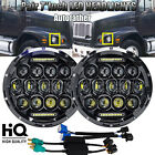 "7""Round LED Projector Headlight H4 H13 Hi/Lo Beam DRL For Freightliner FL112 JK"