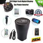 200W Car Cup Power Inverter Dual USB Port 110V AC Outlet Charger Digital Display