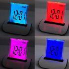 Mini Alarm Clock 7-Color Change LED Digital Thermometer LCD Calendar Desktop 1PC