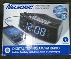 Nelsonic am/fm alarm clock radio with aux cord NIB