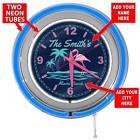 "15"" Customized Flamingo Paradise Blue Neon Garage Clock from Redeye Laserworks"