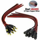 Real 18AWG 43x2pcs Wires 10 Pairs DC Power Pigtail Cable, 12V 5A Male Female By
