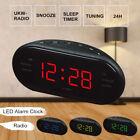 LED Digital AM/FM Alarm Clock Buzzer Radio Snooze Sleep Timer with USB Charging