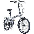 """FOLDING BICYCLE ASSEMBLE AND READY TO RIDE 20"""" Wheel. 6 Speed - Black Or Sliver"""