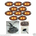 """10 Clear/Amber LED Mini Oval w/SS Trim 3/4"""" Clearance Marker Trailer Truck Light"""
