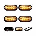 "4 pack of Clear/Amber 6"" oval surface mount stop/tail/turn LED w/ Black Bezel"