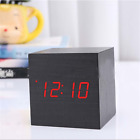 Modern Cube Wooden Wood Digital LED Desk Voice Alarm Clock Control Thermometer
