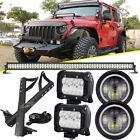 """For Jeep Wrangler JK 52""""+4"""" LED Light Bar+Mount Bracket+Wiring Kit+7"""" Headlights"""
