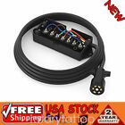 7 Way Plug Inline Pre-Wired Trailer Cord Junction Box 8Ft Wiring Cable Towing