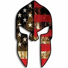 YJZT 5.1CMX9.2CM Spartan Helmet Shaped Distressed American Flag Reflective Car