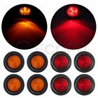 "8x Amber Amber 2.5"" Round 4 LED Truck Trailer Signal Side Marker Clearance Light"