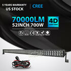 4D 52INCH 700W CREE LED LIGHT BAR OFFROAD 4WD DRIVING FOG FOR JEEP WRANGLER 4WD