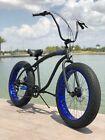 Fat Tire Beach Cruiser Bike 🌴? Flat Black w Blue Whitewall - 7 SPEED-CUTOUT RIMS