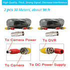 2x High Quality 30M 100ft BNC Video DC Power Cable for CCTV Security Camera DVR