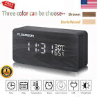 Digital LED Wood Wooden Desk Alarm Clock Time Calendar Thermometer Voice Control
