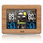 Weather Station Alarm Clock Radio Indoor Outdoor Temperature Digital Sensor Wood