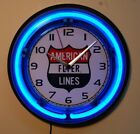 AMERICAN FLYER LINES  neon logo wall clock