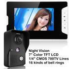 "7""LCD Video Phone Intercom Doorbell Home Monitor Security IR Camera Outdoor"