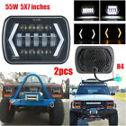 Pair 55W 7x6'' 5X7'' LED Projector Headlight Hi-Lo Beam DRL For Jeep Cherokee XJ