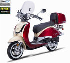 FREE SHIP 150cc Moped Gas Scooter Retro Motorcycle + Remote Alarm Windshield LED