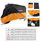 M-XXXL 190T Waterproof Black&Orange Motorcycle Cover Dust All Weather Protection