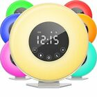 Sunrise Alarm Clock Digital LED Clock with 6 Color Switch and FM Radio w/ Snooze