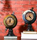 Vintage Globe Model Desk Clock Ornament Crafts Retro Earth Clock Decoration Gift