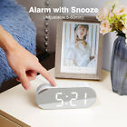 Alarm Clock Snooze Digital LED Display Modern USB Port Operated Mirror Bedroom