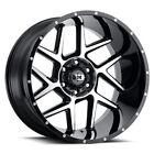 "4 Vision 360 Sliver 24x12 8x6.5"" -51mm Black/Machined Wheels rims 24"" Inch"