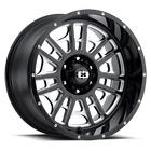 "4 Vision 418 Widow 20x9 5x5.5"" +12mm Black/Milled Wheels Rims 20"" Inch"