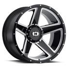 "4 Vision 390 Empire 20x9 8x6.5"" -12mm Black/Milled Wheels rims 20"" Inch"
