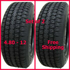 """Set of 2 NEW 4.80x12 12"""" High Speed Trailer Tires 6 Ply Load Range C 480-12"""