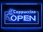 CC034 B OPEN Cappuccino Coffee Cafe LED Light Sign
