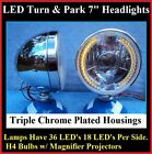 Turn Signal Running Light 36 LED Dietz Chrome Headlights Streetrod Custom 4x4