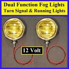 "12 Volt Turn Signal 5"" Amber Glass Fog Running Lights Chrome Universal 12v 2"