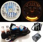 "7"" XENON H4 10 LED TURN SIGNAL & PARK HEADLIGHTS w/ RELAY HARNESS & FLASHER 5"