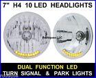 "7"" H4 10 LED Turn Signal & Running Light Headlights Head Lamps Upgrade - 4"